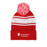 Red/White Two Tone Knit Pom Beanie w/Cuff-University Mark Stacked