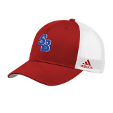 Adidas Red Structured Adjustable Hat-Interlocking SB