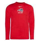 NIKE Sideline Red Heather Coach Long Sleeve Tee-