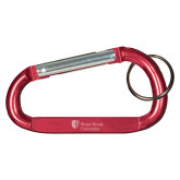 Red Carabiner with Split Ring-University Mark Stacked  Engraved