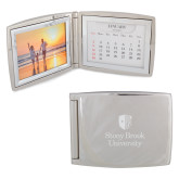 Silver Bifold Frame w/Calendar-University Mark Vertical Engraved