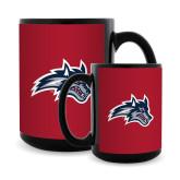 Full Color Black Mug 15oz-Wolfie Head