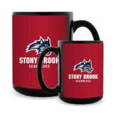 Full Color Black Mug 15oz-Wolfie Head and Stony Brook Seawolves