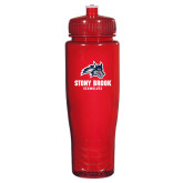 Spectrum Red Sport Bottle 28oz-Wolfie Head and Stony Brook Seawolves