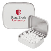 White Rectangular Peppermint Tin-University Mark Vertical
