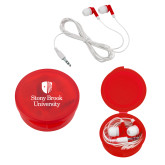 Ear Buds in Red Case-University Mark Vertical