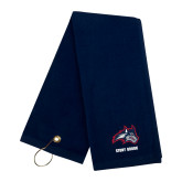Navy Golf Towel-Wolfie Head and Stony Brook