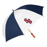 62 Inch Navy/White Vented Umbrella-Interlocking SB