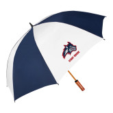 62 Inch Navy/White Vented Umbrella-Wolfie Head and Stony Brook