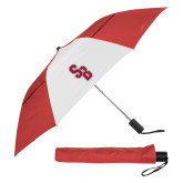 42 Inch Slim Stick Red/White Vented Umbrella-Interlocking SB