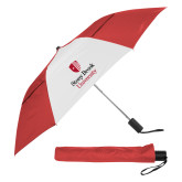 42 Inch Slim Stick Red/White Vented Umbrella-University Mark Vertical
