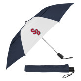 42 Inch Slim Stick Navy/White Vented Umbrella-Interlocking SB