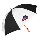 62 Inch Black/White Vented Umbrella-Wolfie Head