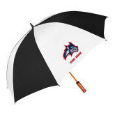 62 Inch Black/White Vented Umbrella-Wolfie Head and Stony Brook
