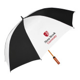 62 Inch Black/White Vented Umbrella-University Mark Vertical