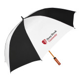 62 Inch Black/White Vented Umbrella-University Mark Stacked