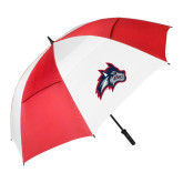 62 Inch Red/White Vented Umbrella-Wolfie Head