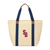 Natural/Navy Saratoga Tote-Interlocking SB