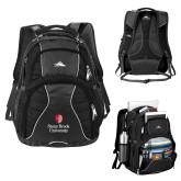 High Sierra Swerve Black Compu Backpack-University Mark Vertical