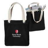 Allie Black Canvas Tote-University Mark Vertical