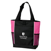 Black/Tropical Pink Panel Tote-University Mark Vertical