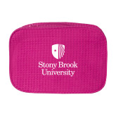 Large Hot Pink Waffle Cosmetic Bag-University Mark Vertical