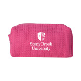 Small Hot Pink Waffle Cosmetic Bag-University Mark Vertical