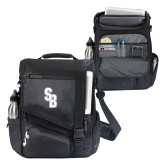 Momentum Black Computer Messenger Bag-Interlocking SB