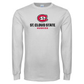 White Long Sleeve T Shirt-St Cloud State Huskies Stacked w/ C
