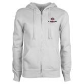 ENZA Ladies White Fleece Full Zip Hoodie-Athletic Primary Mark