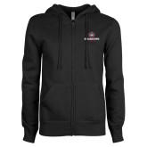 ENZA Ladies Black Fleece Full Zip Hoodie-Athletic Primary Mark