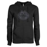 ENZA Ladies Black Fleece Full Zip Hoodie-Husky Graphite Soft Glitter