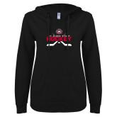 ENZA Ladies Black V Notch Raw Edge Fleece Hoodie-Hockey Crossed Sticks