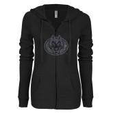 ENZA Ladies Black Light Weight Fleece Full Zip Hoodie-Husky Graphite Soft Glitter