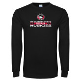 Black Long Sleeve T Shirt-Hockey Stacked Design