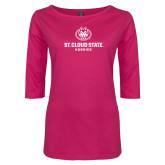 Ladies Dark Fuchsia Perfect Weight 3/4 Sleeve Tee-Athletic Primary Mark