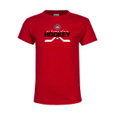 Youth Red T Shirt-Hockey Crossed Sticks