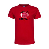 Youth Red T Shirt-Distressed Football