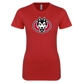 Next Level Ladies SoftStyle Junior Fitted Red Tee-Husky