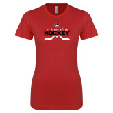 Next Level Ladies SoftStyle Junior Fitted Red Tee-Hockey Crossed Sticks