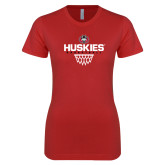 Next Level Ladies SoftStyle Junior Fitted Red Tee-Basketball Sharp Net