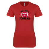 Next Level Ladies SoftStyle Junior Fitted Red Tee-Distressed Football