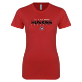 Next Level Ladies SoftStyle Junior Fitted Red Tee-Football Yards Design