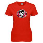 Ladies Red T Shirt-Husky