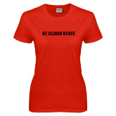 Ladies Red T Shirt-Wordmark