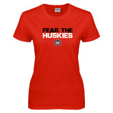 Ladies Red T Shirt-Fear the Huskies