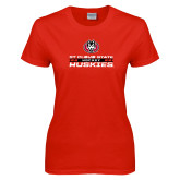 Ladies Red T Shirt-Hockey Stacked Design