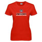 Ladies Red T Shirt-Hockey Stacked Design