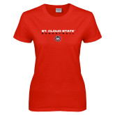 Ladies Red T Shirt-Basketball Wordmark