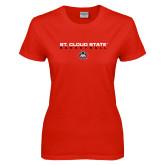 Ladies Red T Shirt-Basketball Wordmark